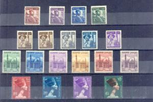EGYPT - 1953-56 DEFINITIVE SET SC322-340 (19) values Very Fine MNH **
