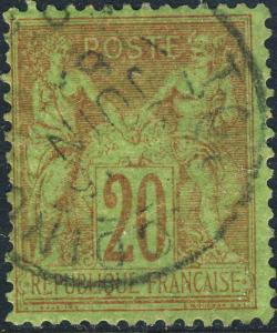 FRANCE - 1886 - Yv.96 / Mi.79 20c red/green Peace & Commerce (Sage) - Fine Used