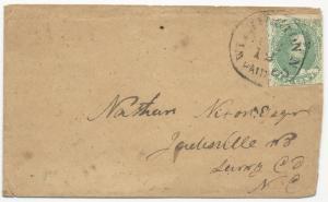 CSA Scott #1 Stone 1 on Cover Wilmington, NC Paid 5 February 12 (1862)