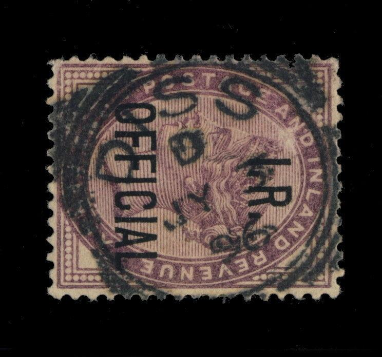 GB - 1896 - SG O3 1d I.R. OFFICIAL CANCELLED DISS SQUARED CIRCLE DATE STAMP