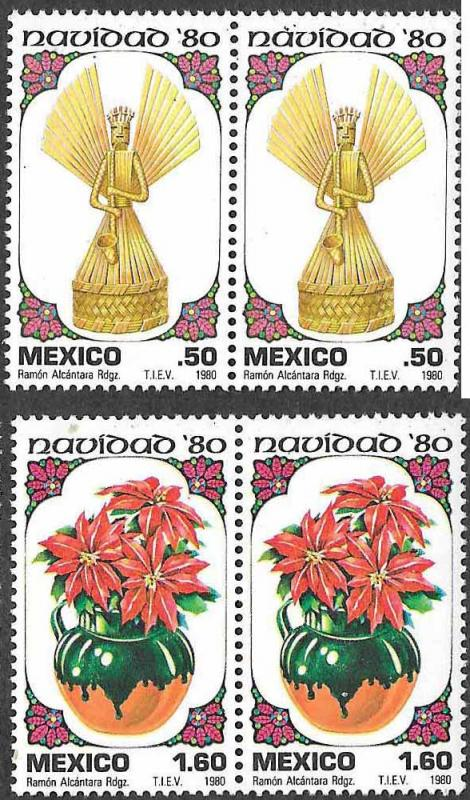 Mexico SC 1217-1218 - Christmas Themes - Pairs - MNH - 1980