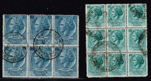 ITALY STAMP USED BLK OF 6, 9 STAMPS LOT