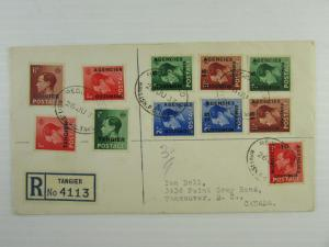 1937 Great Britain Offices in Morocco Tangier to Vancouver KEVIII stamps CDS VF