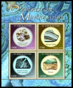 HERRICKSTAMP NEW ISSUES UZBEKISTAN Sc.# 892 Minerals Sheetlet of 4 Diff.
