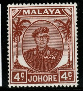MALAYA JOHORE SG136 1949 4c BROWN MTD MINT