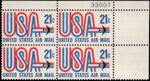 US #C81 21¢ USA & JET MNH UR PLATE BLOCK #33007 DURLAND $2.00