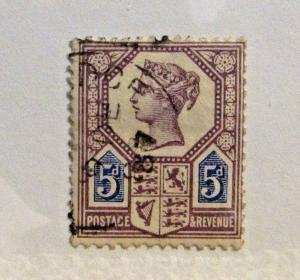 GREAT BRITAIN Scott #118 Θ mute cancel used, fine + 102 card