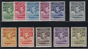 Basutoland Sc #18-28 (1938) King George VI & Crocodile Set Mint VF H
