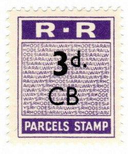 (I.B) Rhodesia Railways : Parcels Stamp 3d (Chisambe)