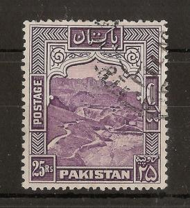 Pakistan 1954 25R SG43c Perf 13 Fine Used Cat£50