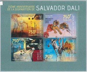 881 - CENTRAL AFRICAN R. -  ERROR MISSPERF stamp sheet - 2014  Salvador Dali ART