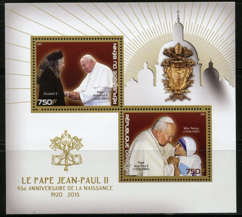 BENIN SHEET POPE JOHN PAUL POPES