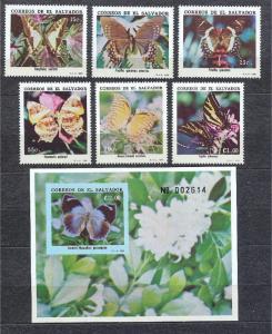 Salvador 1256-1262, MNH, Insects Butterflies1990. x28248