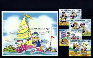 CAICOS Is -1984 - DISNEY - EASTER - DONALD - MICKEY - MINT- MNH SET + S/SHEET!