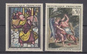 J28942 1963 france set mh #1054-5 art