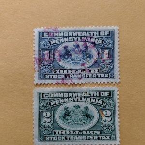 Pennsylvania Stock Transfer Tax SRS ST49-50 XF, CV $10.00
