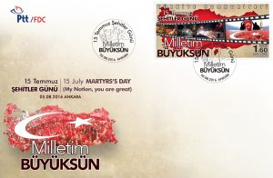 TURKEY 2016 (FDC) - 15TH JULY MARTYRS 'S DAY, RARE