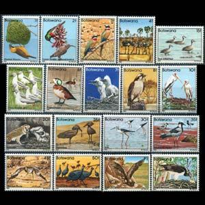 BOTSWANA 1982 - Scott# 303-20 Birds Set of 18 NH