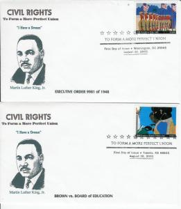 Martin Luther King Civil Rights SET OF 2 RARE FDCs 5 Made Brown - Board Edu. etc