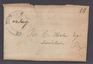 **US Stampless Cover, Huntindon, PA 1/24/1829 D/C Circle *See Description