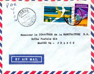 French Equatorial Africa Central African Republic 25F Air Afrique and 25F WHO...