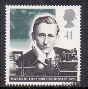 Great Britain 1995 used pioneers of communication 41p Marconi early wireless  #