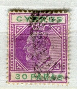 CYPRUS; 1904 early ED VII issue fine used 30pa. value