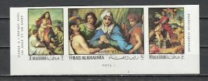Ras Al Khaima, Mi cat. 399-401 B. Religious Christmas, IMPERF issue. ^