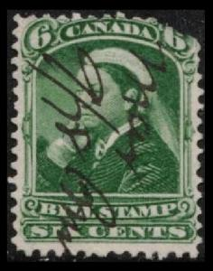 CANADA 1868 QUEEN VICTORIA 6c GREEN #FB43 THIRD BILL STAMP ISSUE, SEE SCAN