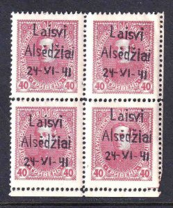 RUSSIA AREA 40k BLOCK 4 LAISVI ALSEDZIAI GERMANY OCC OVERPRINT LOCAL OG NH VF