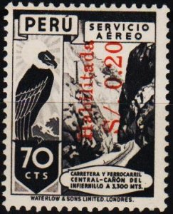 Peru. .1948 20c on 70c S.G.720 Unmounted Mint