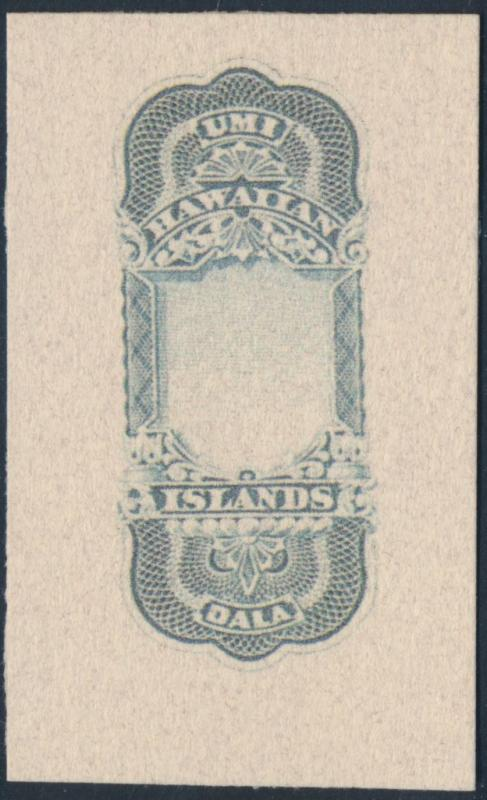 HAWAII #R5E $10 1877 DIE ESSAY WITHOUT DENOMINATION - RARE!! HV2028