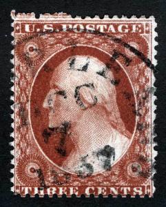 US Sc 25 Type I Dec 7 1857 Year Dated CDS Cancel 3 Full Framelines