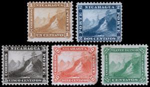 Nicaragua Scott 3-7 (1869-71) Mint H G-F-VF Complete Set, CV $117.50 B