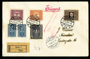 Austria Stamps Cover Flown Registered and Backstamped from Graz to Munich