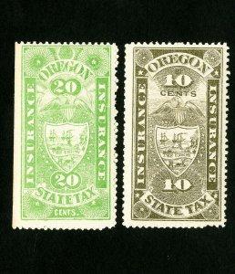 US Oregon Stamps VF 2 insurance tax values OG LH