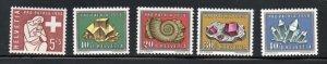 Switzerland Sc B272-76 1958 Pro Patria, Minerals, stamp set mint NH