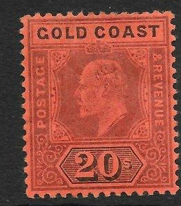 GOLD COAST SG48 1902 20/= PURPLE & BLACK ON RED MTD MINT