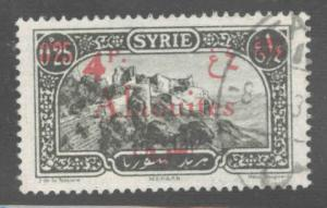 Alaouites Scott 49 Used 1928 red 4p surcharge on 25c Syria collectors marks
