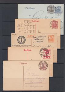 Germany Mi P70x/P116 used. 1906-19 Postal  Cards, 5 diff, nice cancels, F-VF