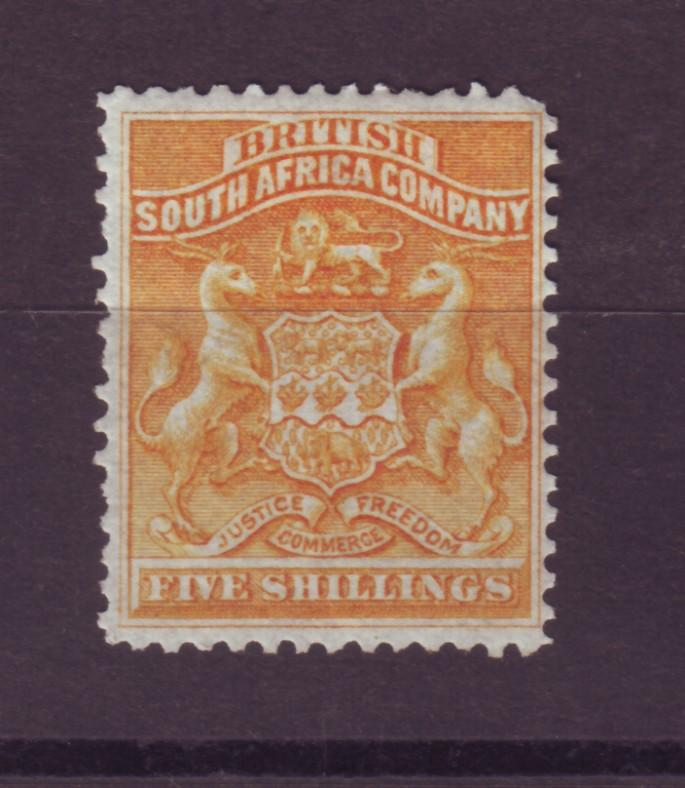 J17048 JLstamps 1890-4 rhodesia mhr #14 coat of arms $92.50 scv