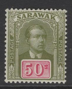 SARAWAK SG60 1918 50c OLIVE-GREEN & CARMINE MNH