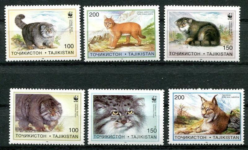 TAJIKISTAN 1996 WILD CATS - WWF - MINT COMPLETE SET OF SIX - $12.00 VALUE!!