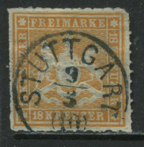 Wurttemberg 1867 18 kreuzer orange CDS used