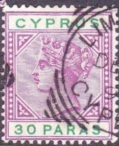 CYPRUS 1896 QV 30p Bright Mauve & Green SG41 Used