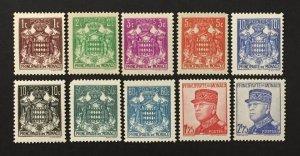 Monaco 1937-43 #145//58(10), Coat of Arms, Louis II, Unused/MH.