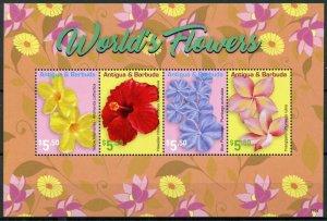 Antigua & Barbuda Stamps 2021 MNH World's Flowers Hibiscus Frangipani 4v M/S