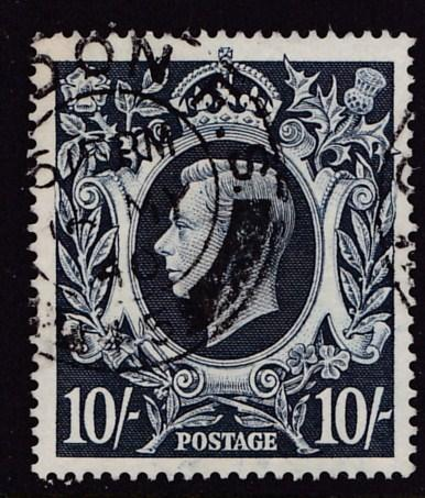 Great Britain 1939 10sh/- King George VI Indigo Shade var. VF/(o)/used