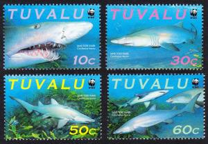 Tuvalu WWF Sand Tiger Shark 4v SG#872-875 MI#862-865 SC#816 a-d