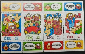 A) 1996, IRELAND, GREETING STAMPS, CARTOON, ZIG AND ZAG, IMPERFORATE TOP AND BOT